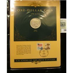 U.S. Coins of the 20th Century One-Dollar Coin Peace postmarked at Washington D.C.. with literature