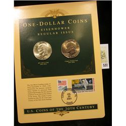 U.S. Coins of the 20th Century One-Dollar Coins Eisenhower Regular Issue postmarked at Cape Canavera