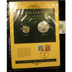 U.S. Coins of the 20th Century One-Dollar Coins Susan B. Anthony and American Eagle postmarked at Wa