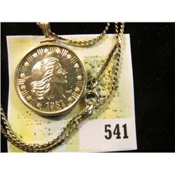 1981 One-Quarter Ounce .999 Fine Silver Proof American Eagle in a Sterling Silver bezel with chain,
