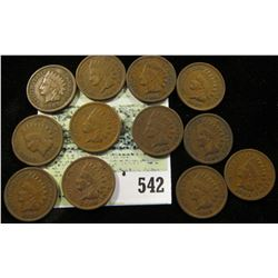 (12) Mixed date Indian Head Cents grading VG-Fine.