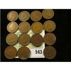 (15) Mixed date Indian Head Cents grading G-VG.