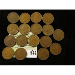 (17) Mixed date Indian Head Cents grading G-VG.