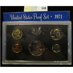 1971 S U.S. Proof Set, Original as issued. A nice attractive set with Nickel, Dime, Quarter, & Half