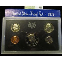 1972 S U.S. Proof Set, Original as issued. A nice attractive set with all coins exhibiting Cameo Fro
