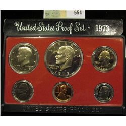 1973 S U.S. Proof Set, Original as issued. A nice attractive set with all coins exhibiting Cameo Fro
