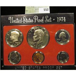 1974 S U.S. Proof Set, Original as issued. A nice attractive set with all coins exhibiting Cameo Fro
