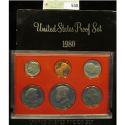 1980 S U.S. Proof Set, Original as issued. A nice attractive set with all coins exhibiting Cameo Fro