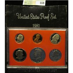 1981 S U.S. Proof Set, Original as issued. A nice attractive set with all coins exhibiting Cameo Fro
