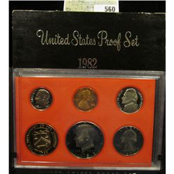 1982 S U.S. Proof Set, Original as issued. A nice attractive set with all coins exhibiting Cameo Fro