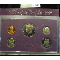 1987 S U.S. Proof Set, Original as issued. A nice attractive set with all coins exhibiting Cameo Fro