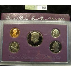 1990 S U.S. Proof Set, Original as issued. A nice attractive set with all coins exhibiting Cameo Fro