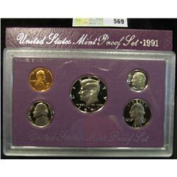1991 S U.S. Proof Set, Original as issued. A nice attractive set with all coins exhibiting Cameo Fro