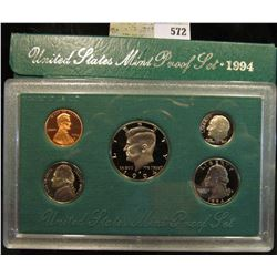 1994 S U.S. Proof Set, Original as issued. A nice attractive set with all coins exhibiting Cameo Fro