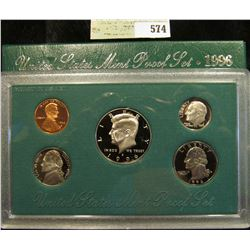 1996 S U.S. Proof Set, Original as issued. A nice attractive set with all coins exhibiting Cameo Fro