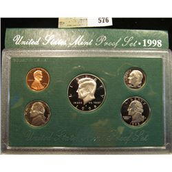 1998 S U.S. Proof Set, Original as issued. A nice attractive set with all coins exhibiting Cameo Fro