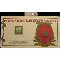 """1909 Liberty Nickel """"History Liberty Coins"""" in a special holder with a Statue of Liberty Mint One Ce"""