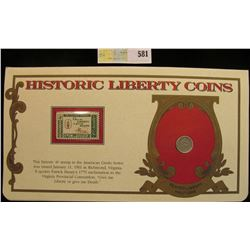 """1856 P U.S. Seated Liberty Half Dime. Fine. Mounted in a """"History Liberty Coins"""" special holder with"""