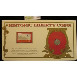 """1876 S U.S. Seated Liberty Dime. VG-Fine. Mounted in a """"History Liberty Coins"""" special holder with a"""