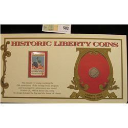 """1912 P U.S. Barber Dime. Mounted in a """"History Liberty Coins"""" special holder with a """"Savings Bond..."""