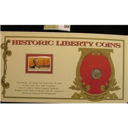 """1945 P U.S. Mercury Dime. Mounted in a """"History Liberty Coins"""" special holder with a """"F.A. Bartholdi"""