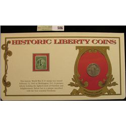 """1926 P Standing Liberty Quarter. Mounted in a """"History Liberty Coins"""" special holder with a """"Freedom"""