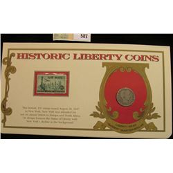 """1909 D Barber Quarter. Mounted in a """"History Liberty Coins"""" special holder with a """"Air Mail... """" Fif"""