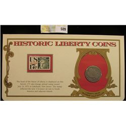 """1912 D Barber Half Dollar. Mounted in a """"History Liberty Coins"""" special holder with a """"Air Mail... """""""