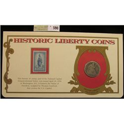 """1853 Arrows and Rays U.S. Seated Liberty Half Dollar. Mounted in a """"History Liberty Coins"""" special h"""