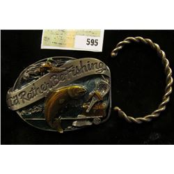 """""""I'd Rather Be Fishing"""" enameled Belt Buckle and a bracelet which appears to be twisted Silver and C"""