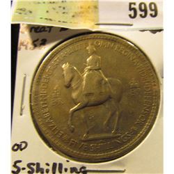 1953 Great Britain Five Shilling Equestrian design with Queen Elizabeth mounted on a Horse.