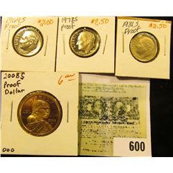 1969 S, 78 S, & 81 S Proof Roosevelt Dimes; & 2008 S Proof Sacagawea Native American Dollar.
