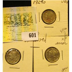 1924 D, 26 P, & 34 D Higher Grade Mercury Dimes.