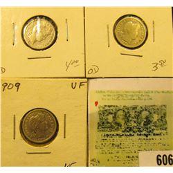 1901 P, 01 O, & 09 P Barber Dimes, grades up to VF.