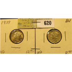 1939 P & D Mercury Dimes. Both high grades.