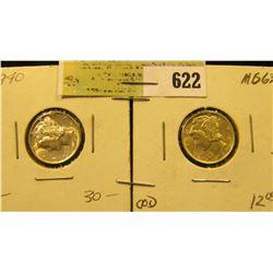 1940 P & 42 S Mercury Dimes. Both high grades.