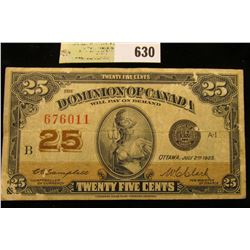 "July 2nd, 1923 ""Dominion of Canada"" 25c Fractional Banknote."