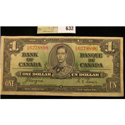 "January 2nd, 1937 ""Bank of Canada"" One Dollar Banknote. Very nice grade."