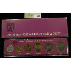 1972 Israel Official Mint Set in original holder of issue. (6 pcs.).