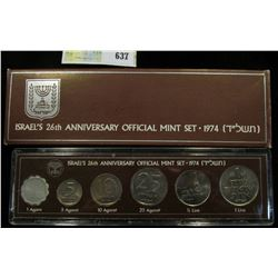 1974 Israel Official Mint Set in original holder of issue. (6 pcs.).