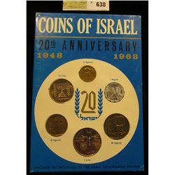1948-1968 20th Anniversary Israel Official Mint Set in original holder of issue. (6 pcs.).