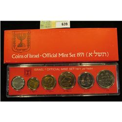 1971 Israel Official Mint Set in original holder of issue. (6 pcs.).