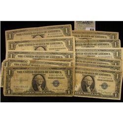 Series 1935, 35A, B, C, D, E, F, G, H, 1957, 57A, & B U.S. One Dollar Silver Certificates. (12 pcs.)
