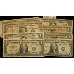 Series 1935, 35A, B, C, D, E, F, G, 1957, 57A, & B U.S. One Dollar Silver Certificates. (11 pcs.)