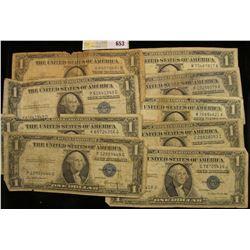 Series 1935A, C, D, E, F, G, 1957, 57A, & B U.S. One Dollar Silver Certificates. (9 pcs.)