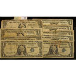 Series 1935A, D, E, F, G, H 1957, 57A, & B U.S. One Dollar Silver Certificates. (9 pcs.)