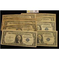 Series 1935A, B, C, D, E, , F, G, 1957, 57A & B U.S. One Dollar Silver Certificates. (10 pcs.)