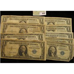 Series 1935A, B, C, D, E, G, 1957, 57A & B U.S. One Dollar Silver Certificates. (9 pcs.)