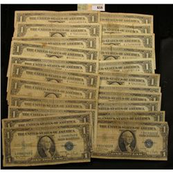 Series 1935A, C, D, E, G, (5) 1957, (4) 57A & (8) B U.S. One Dollar Silver Certificates. (20 pcs.)