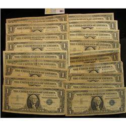 Series 1935A, D, E, (4) 1957, (4) 57A & (9) B U.S. One Dollar Silver Certificates. (20 pcs.)